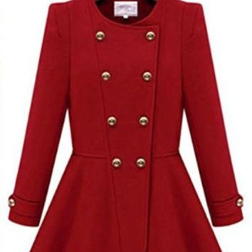 New Women Long Sleeve Double-breasted Cashmere Autumn Skater Trench Coat Jacket