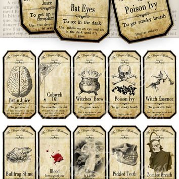 Halloween Apothecary Bottle Jar Labels Tags Halloween instant download printable images digital collage sheet VD0125