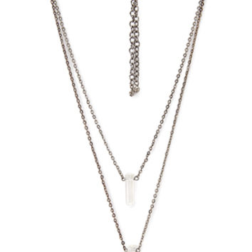 Layered Faux Stone Necklace Set
