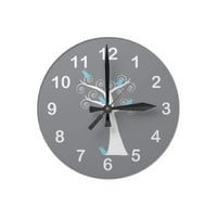 Five Blue Birds in a Tree Wall Clock from Zazzle.com