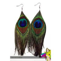 simple // peacock feather earrings