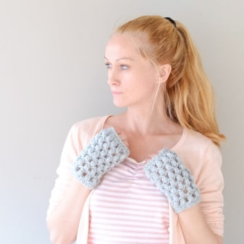 Sky Blue Fingerless Gloves / Women Crochet Wrist Warmers
