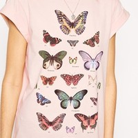 ASOS TALL Boyfriend T-shirt With Butterfly Print