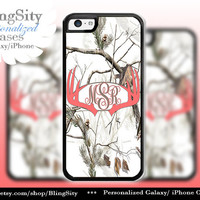 Coral Antlers Monogram Iphone 5C case Browning iPhone 5s iPhone 4 case Ipod 4 5 case White Camo Deer Personalized Country Inspired Girl