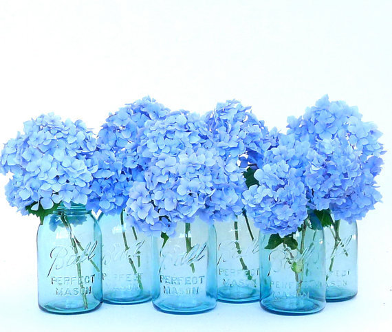 Antique Aqua Ball Perfect Mason Jars with Canner Rack Summer Wedding Centerpiece