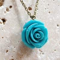 Blue Flower Necklace, Bronze Chain Bohemian Jewelry, Summer Fashion