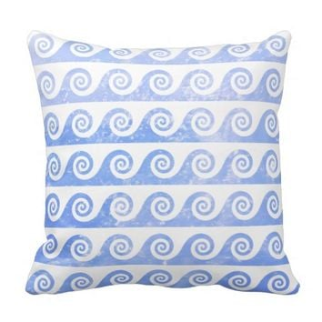 Pale Blue Sea Waves Pattern, Nautical Inspired Throw Pillow