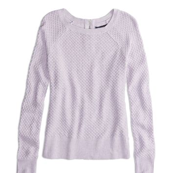 AEO Factory Zip Back Crew Sweater