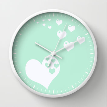 Mint White Hearts of Love Wall Clock by Beautiful Homes