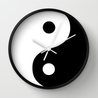 Harmony Yin Yang Black White Wall Clock by Beautiful Homes
