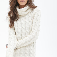 FOREVER 21 Cable Knit Turtleneck Sweater