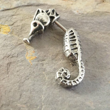 Seahorse Earlobe Cartliage Earring Piercing for the Left Ear