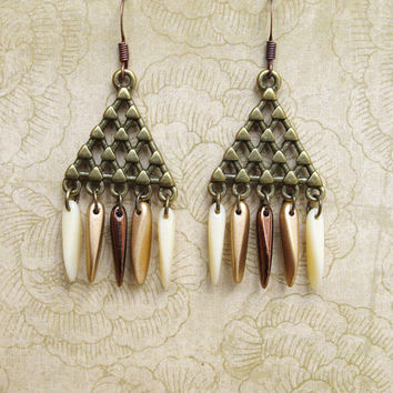 Triangle earring, Geometric earring, bead earrings, Fall pendant, boho earrings, modern earring, autumn earth colors