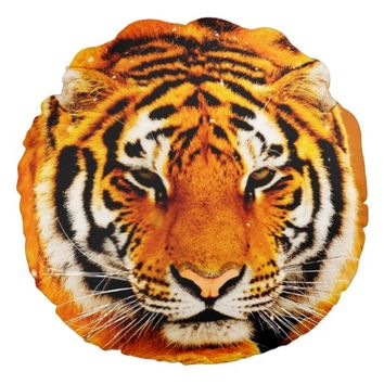 Siberian Tiger Round Throw Pillow