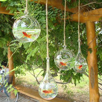 Europe style creative hanging glass fish tank,beautiful glass vase with a oblique opening,fashion home decor.