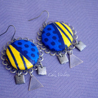 Blue Yellow earrings Ethnic earrings African Fabric earring Geometric Bronze dangle Bohemian earrings Tribal earrings