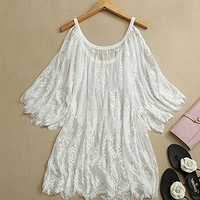Leshery Vintage Hippie Boho People Embroidery Floral Lace Crochet Mini Party Dress Tops (M)