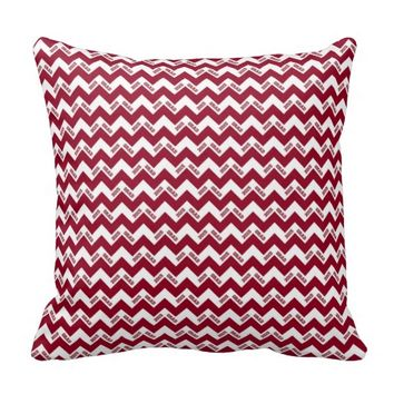 2015 Grad Chevron Pillow, Burgundy-white