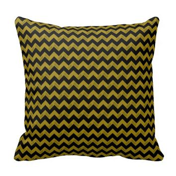 2015 Grad Chevron Pillow, Black-gold