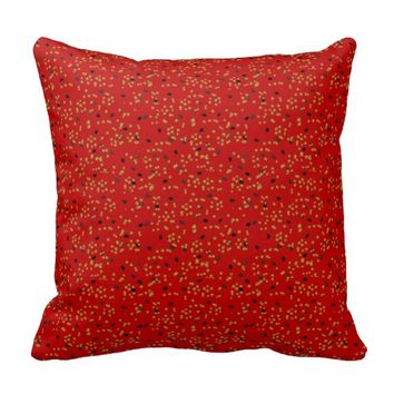 Graduation Confetti Throw Pillow Red