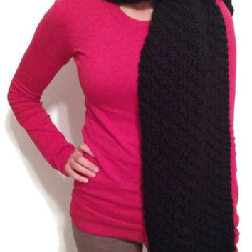 Handmade Chunky Warm Black Winter Scarf, Black Thick Scarf