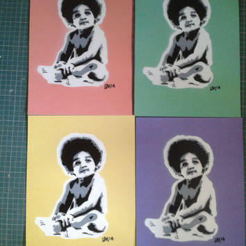 Biggie Baby stencil art paintings on card,Biggie Smalls,Notorious B.I.G,hip hop,rap,east coast,New York,pastels,hand made,pop art,street art