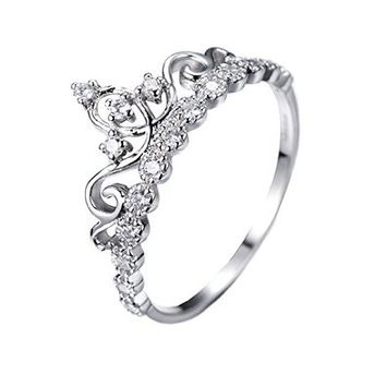 Dainty Rhodium-plated Sterling Silver Crown Ring / Princess Ring