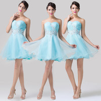 ❤Sweet❤Girls Blue Short Strapless Prom Cocktail Evening Party Homecoming Dresses