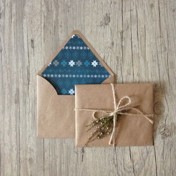 Crafted writing set - letter writing paper - christmas new year nordic - recycled brown envelope - pastel light rustic - europeanstreetteam
