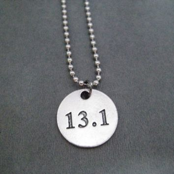 DISTANCE Round Pewter Pendant on Stainless Steel Ball Chain - Choose 5K, 10K, 13.1 or 26.2