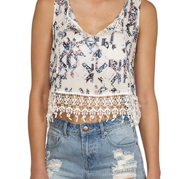 isabella lace trimmed crop blouse
