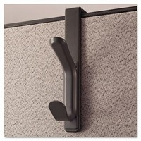 Recycled Cubicle Coat Hook, 2 Hook, Plastic, Charcoal, 2/Pack