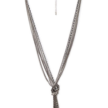 Knotted Rhinstone Chain Necklace