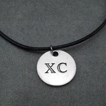 Pewter Round XC Pendant on Leather and Sterling Silver Chain