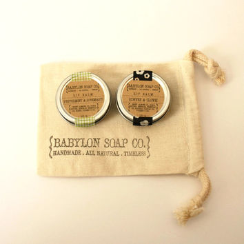 Lip Balm Gift Set . You Pick Any 2 Lip Balms . Cocoa Butter and Beeswax . 100% Natural Lip Balm . Tin Lip Balm
