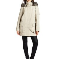 Vince Camuto Women`s Faux Fur Trim Hooded Long Coat