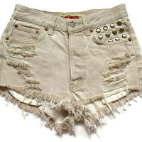 Shredded and studded high waist shorts M