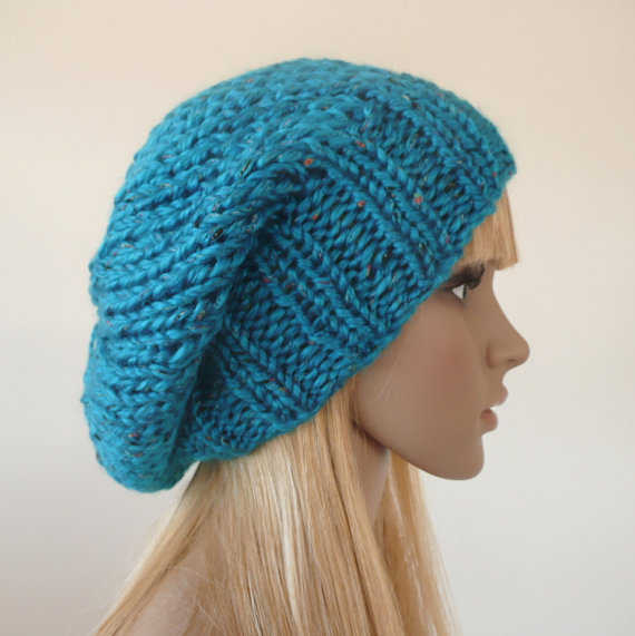 Hand Knit Slouchy Beanie Hat Turquoise Blue Slouch Beanie with Multi color Flecks Slouch Beret Unisex Hat Women Teenage Fashion Accessory
