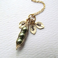 Personalized Jewelry Mothers Friends Birthday Gifts - Peas in a Pod Necklace, Initials Family Kids Children, Baby Shower Gifts