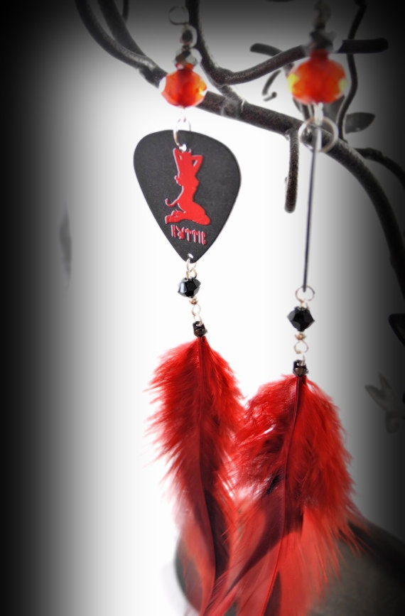 Earrings- Hottie Pinup Little Devil Silhouette Guitar Pick/  Feathers/ Crystal Beads/ Red, Black, - OOAK Jewelry