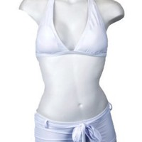 White Halter Top &amp; Boy Short Bottoms Bathing Suit