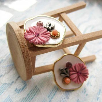 Floral Earrings - Pink White and Gold