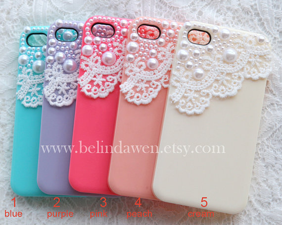 iphone 4 case, iphone 4s case, white lace and pearl  trim Hard Case, five colors for choice