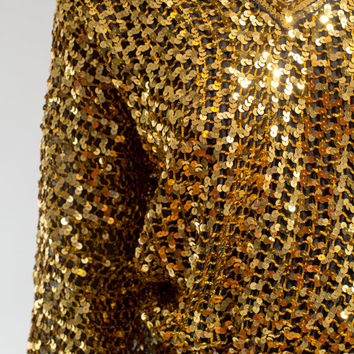 Gold sequined slouchy party top blouse