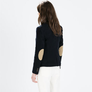Moleskin blazer with elbow patches