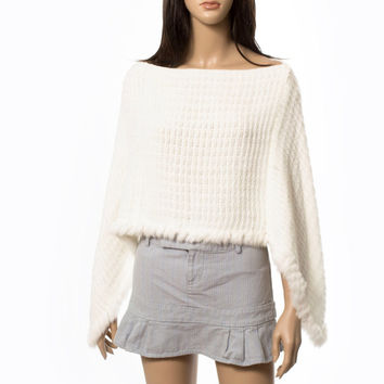 Angora poncho sweater cape batwing capelet