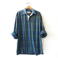 Vintage Plaid Henley Shirt. Washed Out Grunge Shirt. Pullover Boyfriend Shirt.