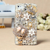 Gullei Trustmart : Apple iPhone 4S 4G 3GS iPod Touch Cat Flowers Crown Back Case [GTMSP0113] - $44.00-Couple Gifts, Cool USB Drives, Stylish iPad/iPod/iPhone Cases &amp; Home Decor Ideas
