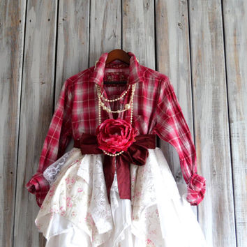 Plaid tunic top, Fall street chic tunic dress, Boho clothing, Romantic lagenlook fall shirt, Country chic clothes, True rebel Clothing
