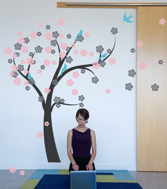 Cherry Blossom Tree Wall Decal - Tree in the Wind 1130 - wall decal tree